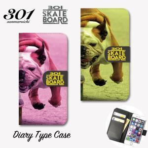 スマホケース 手帳型 アイフォン8 ケース iPhone11 手帳型 横 「301SKATEBOARD ブルドッグ Bulldog スケボー スケボー犬 ストリート」 手帳ケース レザー|301-shop