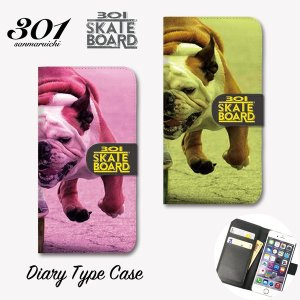 iPhone8 手帳 横 スマホケース iPhone11 Pro Max 手帳型ケース 「301SKATEBOARD ブルドッグ Bulldog スケボー スケボー犬 ストリート」 手帳ケース レザー|301-shop