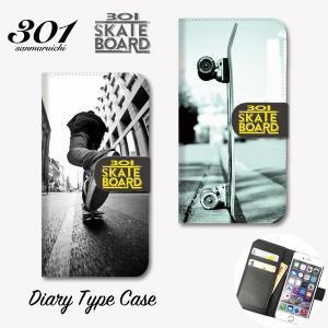 iPhone8 手帳 横 スマホケース iPhone11 Pro Max 手帳型ケース 「301SKATEBOARD SK8 スケボー チェック柄 ストリート カッコイイ おしゃれ」 手帳ケース レザー 301-shop
