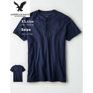 AEO men's 【XS.size】 100% コットン  ネイビー ヘンリーネック T-Shir...