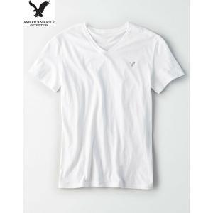 セール対象品 AEO men's 【M.size】コットン 定番ホワイト Vネック T-Shirt ...
