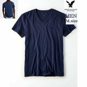 セール対象品 AEO men's 【M.size】 100%コットン ネイビー Vネック T-Shi...