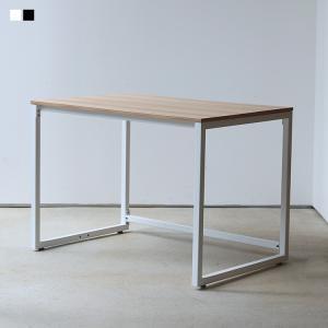 デスク 単品 木製 オフィスデスク ワークデスク ダイニングテーブル W1000mm ホワイト ブラ...