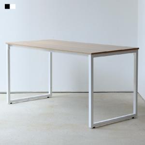 デスク 単品 木製 オフィスデスク ワークデスク ダイニングテーブル W1400mm ホワイト ブラ...