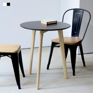 カフェテーブル ミニマム サイドテーブル BK WH ラウンドテーブル 丸テーブル φ60 600m...