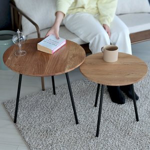 ネストテーブル 大小テーブルセット木製 サイドテーブル カフェテーブル ローテーブル φ500 φ4...