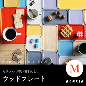 ACACIA WOODEN PLATE M  アカシア ラバーウッド プレートシリーズ AA-002 ( Blue・Emerald・Green・Grey・Natural・Purple・White・Scarlet・Yellow )|3244p