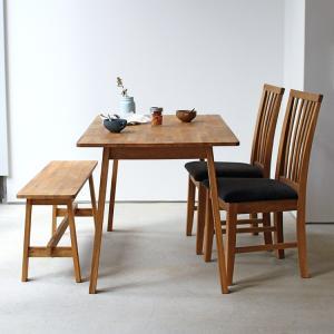ダイニングテーブルセット 4点 4人 オーク テーブル W1200 チェア2脚 ベンチ1台 MTS-086、MTS-092、MTS-090|3244p