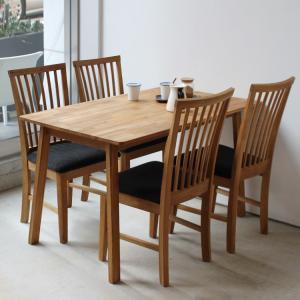 ダイニングテーブルセット 5点 4人 オーク テーブル W1200 チェア 4脚セット MTS-086、MTS-092|3244p