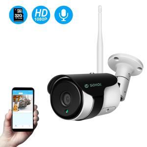 SOKOJ ネットワークカメラ 屋外 1080P ワイヤレス WIFI 無線防犯カメラ 遠隔監視対応 防水 双方向音声 32GSDカード内蔵 日本語説明書/アプリ 34618