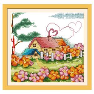 クロスステッチセット「小屋」  布の詳細:綿、11カウント(図案印刷)(「3本取り」でフルステッチ)...