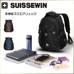 リュック 旅行バッグ 登山リュック 通勤用 バッグ SUISSEWIN SN7009  メンズ スクエアリュック 通学|34618