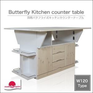 キッチンカウンター バタフライ 天板 テーブル 両バタワゴン 作業台 収納 120 間仕切り|35plus