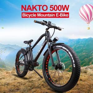 NAKTO 26「」ワイドファットタイヤスノービーチ電動自転車、ダブルディスクブレーキシム ■お届け...