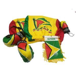 6PCSガイアナヘッドレストカバー国旗ガイアナミニバナー&ボクシンググローブ柯 6pcs Guyan...