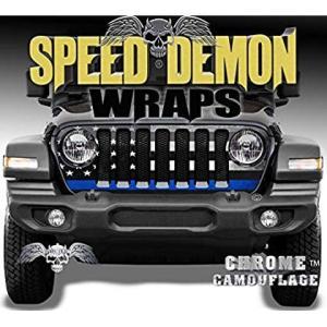 Jeep Wrangler JL Grill Wraps - Police Flag - 2018-2019 JL|36hal01