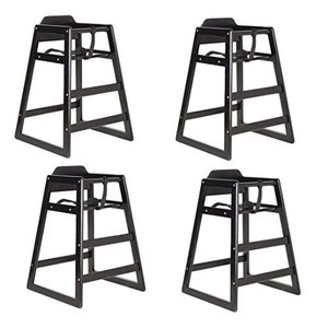 Lancaster Black Finish Stacking Restaurant Wood High Chair 4 PACK soli|36hal01