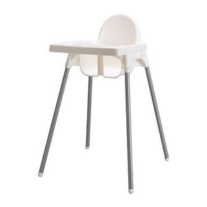 Ikea's ANTILOP Highchair with safety belt, white, silver color and ANT|36hal01