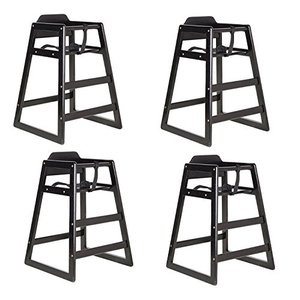 Black Finish Stacking Restaurant Wood High Chair 4...