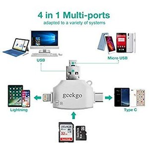 geekgo Micro SD Card Reader for iPhone iPad/Androi...