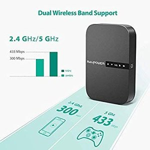 RAVPower FileHub, Travel Router AC750, Wireless SD Card Reader, Connec|36hal01