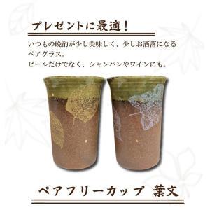 ペアフリーカップ 葉文 2個セット 石川県 九谷焼 ビールグラス 風味 泡立ち 還暦祝い プレゼント ギフト 結婚祝い 引き出物 贈り物|39genki1