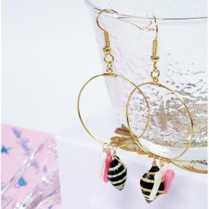 ハンドメイドアクセサリー12 ピアス 真鍮 しんちゅう ゴールドフープパーツ ノシ貝 ピンク珊瑚 白珊瑚パーツ ゴールドメタルフックピアス 手作り ハワイ|39genki1