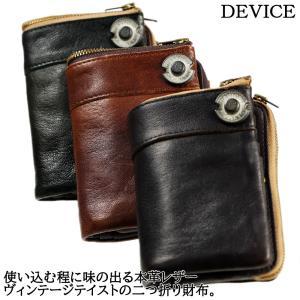 DEVICE デバイス ヴィンテージ メンズ レザー 二つ折り財布 ウォレット 本革 男性用 DKW-17058|39surprise