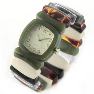 Time Will Tell タイムウィルテル(タイムウイルテル) 腕時計 モスグリーン&レインボー バングルブレスウオッチ Multi-MSRA 39surprise