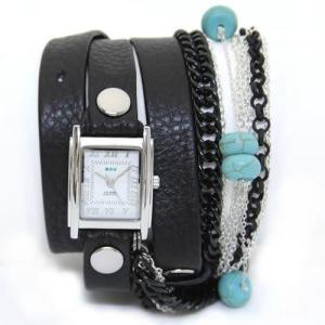 LA MER COLLECTIONS ラメール コレクション レディース腕時計 3ラップブレスレット&8連チェーン(ブラック&シルバー) ターコイズ LMCW7005|39surprise