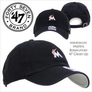 キャップ メンズ 47 Brand MARLINS Baserunner '47 CLEAN UP - BSRNR28GWS フォーティセブンブランド Miami マイアミ マーリンズ コットン 定番 ベーシック ミニ|3direct