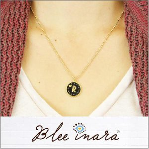 BLEE INARA / ブリーイナラ イニシャル ネックレス ENAMEL LETTER CHAIN NECKLACE (BLK)|3direct