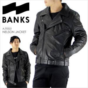 ライダースジャケット メンズ BANKS NELSON JACKET - AJT0021 バンクス レザージャケット 革ジャン 本革 ラムレザー キルティング ブラック サーフ ストリート|3direct