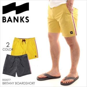 サーフパンツ メンズ BANKS BRITANY BOARDSHORT - BS0077 バンクス サーフ ストリート ロゴ シンプル ショーツ ハーフパンツ スイムウェア ブラック イエロー 短|3direct