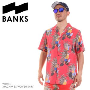 BANKS シャツ メンズ MACAW S/S WOVEN SHIRT WSS0056 2018夏 レッド M|3direct