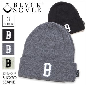 SALE セール BLACK SCALE ブラックスケール ビーニー B LOGO BEANIE [ BSHW049 ] / ロゴ ニットキャップ カフビーニー 帽子 ストリート|3direct