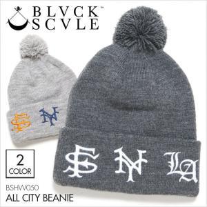 BLACK SCALE ブラックスケール ビーニー ALL CITY BEANIE [ BSHW050 ] / SF NY LA ニットキャップ カフビーニー ボンボン 帽子 ストリート|3direct