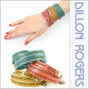 DILLON ROGERS / ディロン・ロジャース レザー ブレスレット WRAP AROUND LETHER BRACELETS (PEACE LOVE)|3direct