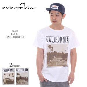 EVEN FLOW Tシャツ メンズ EIJI×EF CALI PHOTO TEE EF-802 2018春 ホワイト S/M/L|3direct