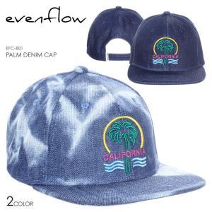 EVEN FLOW キャップ メンズ PALM DENIM CAP EFC-801 2018春 ブルー/ネイビー ワンサイズ|3direct