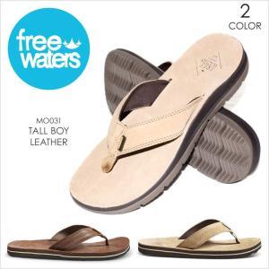 サンダル メンズ FREE WATERS TALL BOY LEATHER - MO031 フリーウォータース ビーチサンダル リアルレザー サーフ アウトドア 海 プール 男性 靴 2017 17 夏 新|3direct