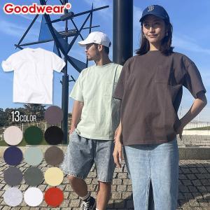 GOODWEAR Tシャツ メンズ USAコットンビッグ無地ポケットT 2W7-3505 2018春 ブラック/チャコール/カーキ/ミント/ネイビー/ピンク/ブルー/ホワイト/イエロー M/L/|3direct