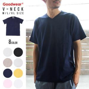 GOODWEAR Tシャツ メンズ USAコットン無地ポケットVネックT 2W7-3508 2018春 ブラック/チャコール/カーキ/ミント/ネイビー/ピンク/ブルー/ホワイト/イエロー M/L|3direct