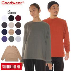 GOODWEAR グッドウェア Tシャツ ロンT メンズ USAコットン袖リブポケットロンT 2W7-8518 2018秋冬 ブラック/チャコール/マルーン/ネイビー/エメラルド/ゴールド/|3direct