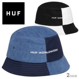 HUF ハフ バケットハット ハット 帽子 デニム カラーブロック ウォッシュ加工 ストリート BLOCK OUT BUCKET HT00583 3direct