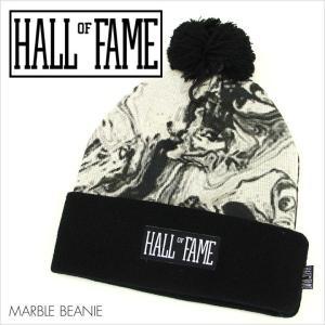 HALL OF FAME ホールオブフェイム ビーニー MARBLE BEANIE [HL1510]  メンズ / マーブル ニットキャップ ボンボン ロゴ ストリート スポーツ|3direct