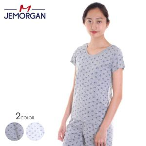 JEMORGAN Tシャツ レディース 半袖Tee J8030-296 2018春夏 ホワイト/グレー フリーサイズ|3direct