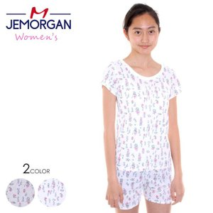 JEMORGAN  Tシャツ レディース 花柄サーマルTシャツ J8083-296 2018春 ホワイト/グレー フリーサイズ|3direct