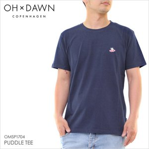 Tシャツ メンズ OH x DAWN PUDDLE TEE - OMSP1704 オードーン ロゴ シンプル ワッペン ネイビー オーガニックコットン クルーネック サーフ ストリート 半袖 S/S|3direct