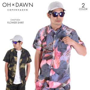 OH DAWN シャツ メンズ FLOWER SHIRT OMSP1834 2018春夏 ピンク/グリーン/フラワーパターン S/M/L|3direct